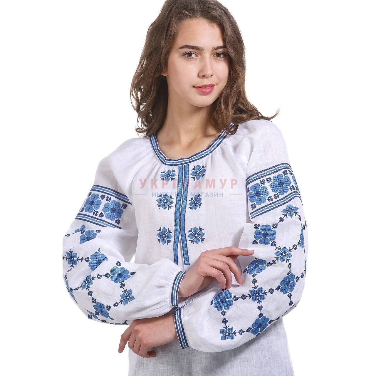 8834024f9b95b8e Купить Вышитая дизайнерская женская рубашка белая с синими цветами в Киеве,  цена, отзывы