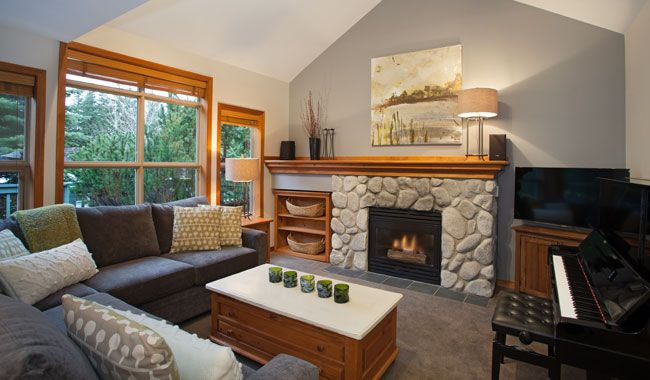 Whistler Rental Arrowhead Point #5 Spacious Living Area with Cozy Gas Fireplace and Vaulted Ceiling @whistlrplatinum #vacation #rental #whis...