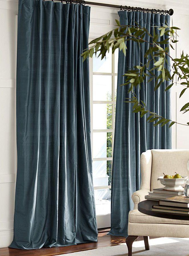 Blue Curtains Silk Ds, Silk Dupioni Curtains Pottery Barn