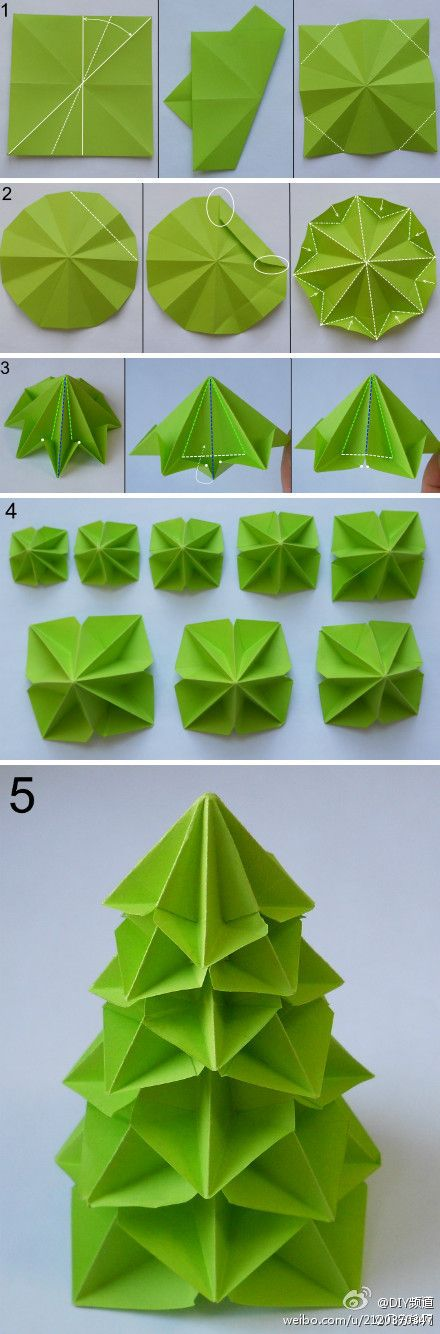 Origami Modular Christmas Tree Folding Instructions | Origami Instructie - Origami Modular Christmas Tree Folding Instructions Origami