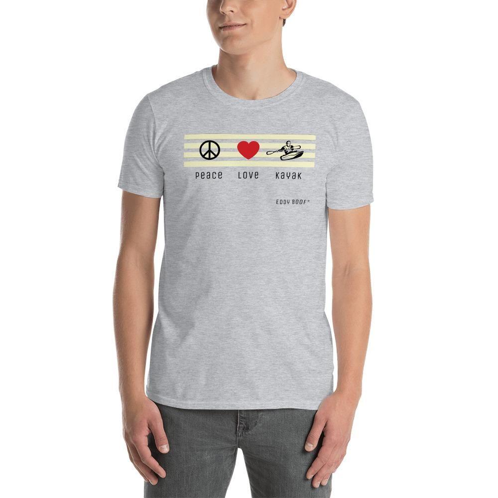 Peace Love Kayak T-Shirt - J'ai le choix populaire! Il est fait d'un coton plus épais et plus lourd, mais il est toujours doux et confortable. Et la double couture sur l'encolure et les manches ajouter plus de durabilité à ce qui est sûr d'être un favori!     • Coton 100% filé à l'anneau  • Sport Grey est 90% coton à anneaux, 10% polyester  • Bruyère foncée est 65% polyester, 35% coton  • 4,5 oz/y² (153 g/m²)  • Pré-rétréci  • Enregistrement de l'épaule à l'épaule  • Quart-tourné pour éviter le