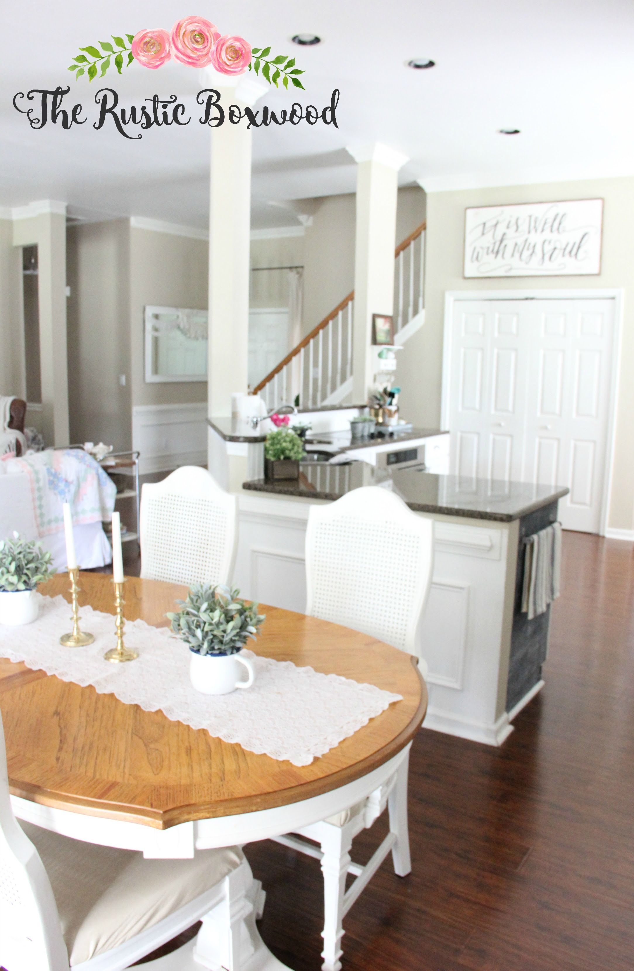 Open concept in a small home: dining room, kitchen, entry and living ...