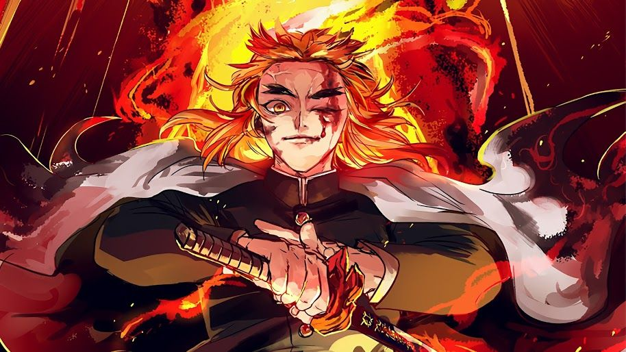 Kyoujurou Rengoku Kimetsu No Yaiba 4k 1 Wallpaper For Desktop Laptop Imac Macbook Pc Tablet And Smartphone Iphone Android Demon Anime Slayer Anime