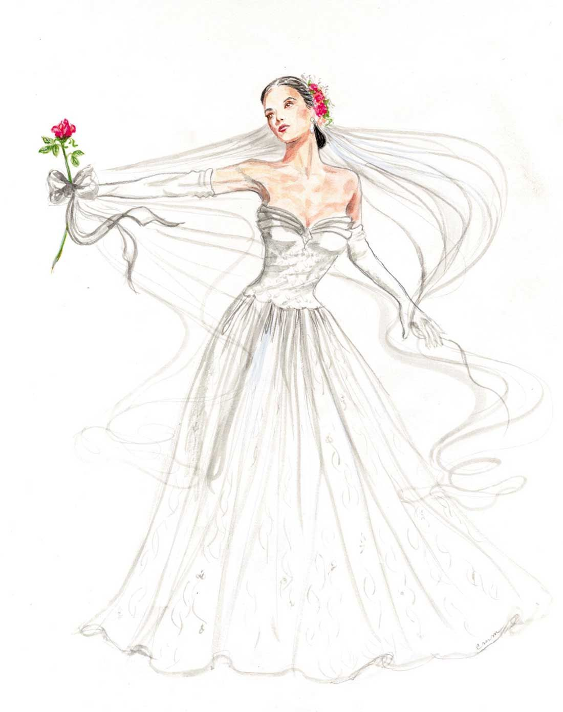 Bride 4 In Series Watercolor By Cindy Mcclure Wedding Dress