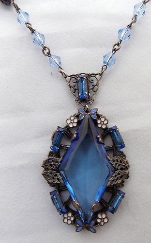 Vintage 1920s Czech Blue Glass Enamel Flower Necklace Pendant