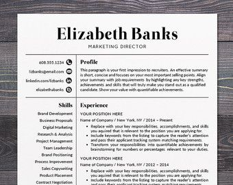 Professional Resume Resume Template  Cv Template For Word Mac Or Pc Professional