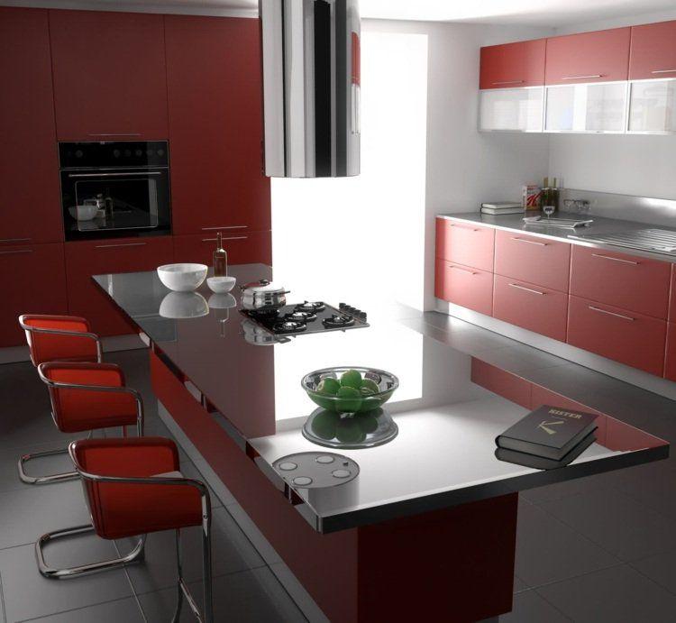 déco de cuisine moderne en rouge et gris Déco cuisine Pinterest - Photo Cuisine Rouge Et Grise