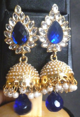 Gold-Plated-Pearl-Drop-Kundan-Polki-Indian-Wedding-Jhumka-Earrings-Blue-Set-c