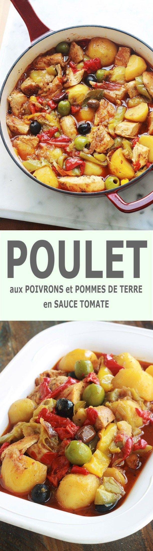 Poulet aux poivrons, pommes de terre et olives en sauce tomate