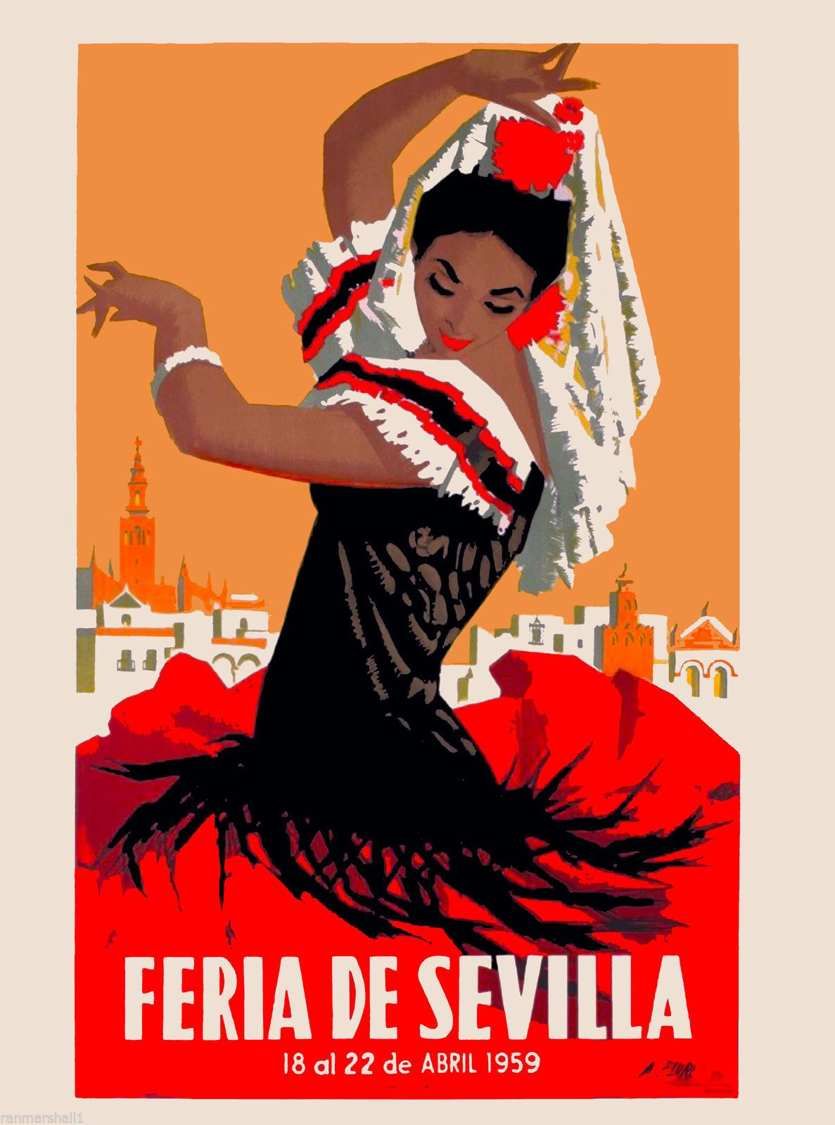1959 Feria de Sevilla Seville Spain Spanish Vintage Travel Advertisement Poster | eBay