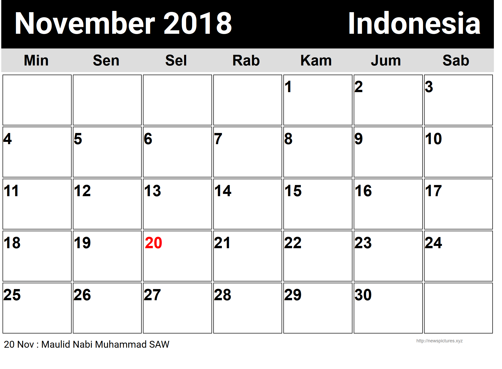 november 2018 calendar indonesia calendar indonesia november