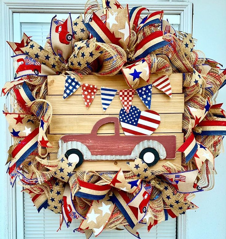Photo of Jute-Kranz, patriotischer Kranz, roter LKW-Kranz – Craft Ideas – Burlap wreath