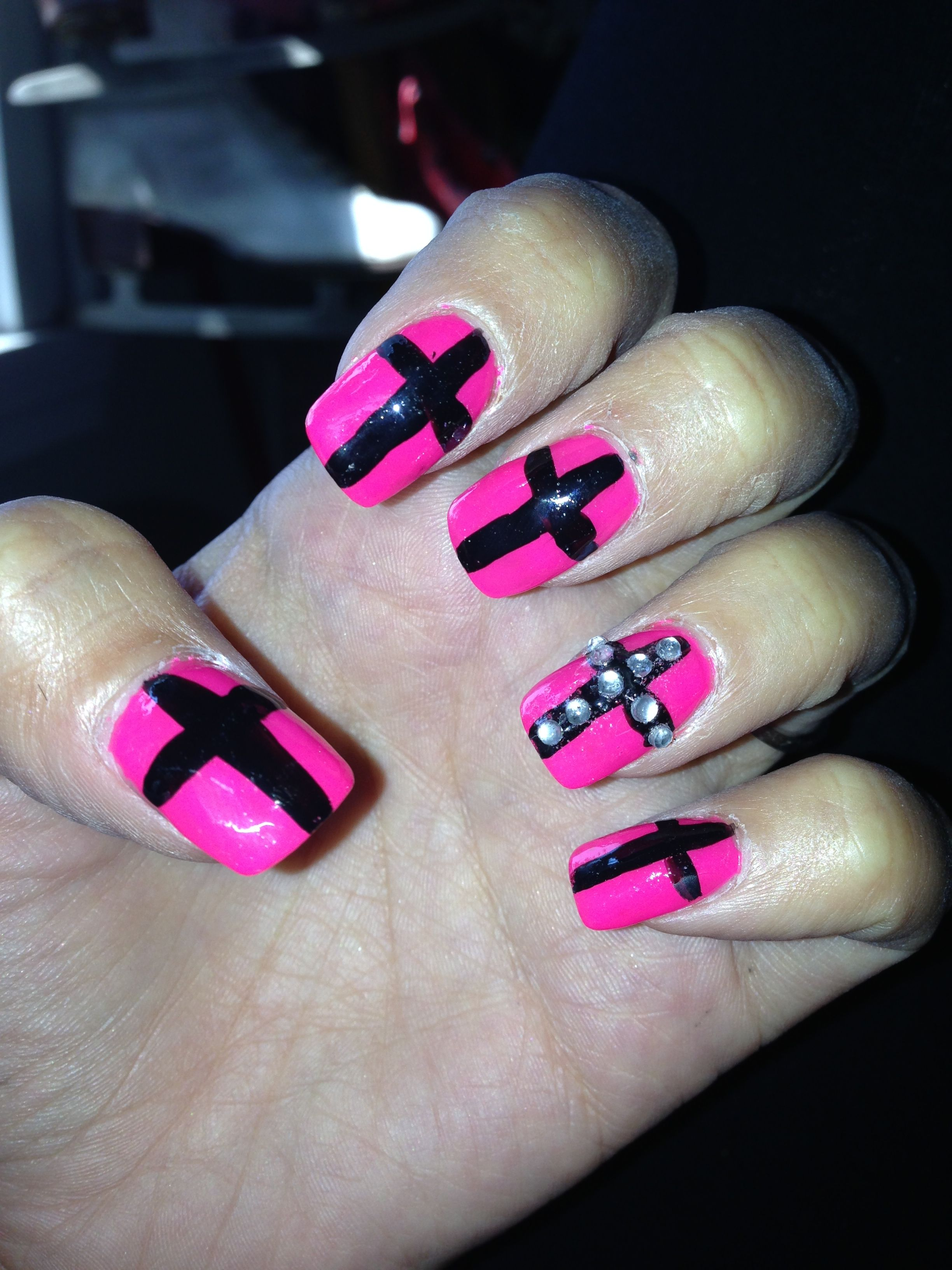 Pink And Black Cross Nail Art