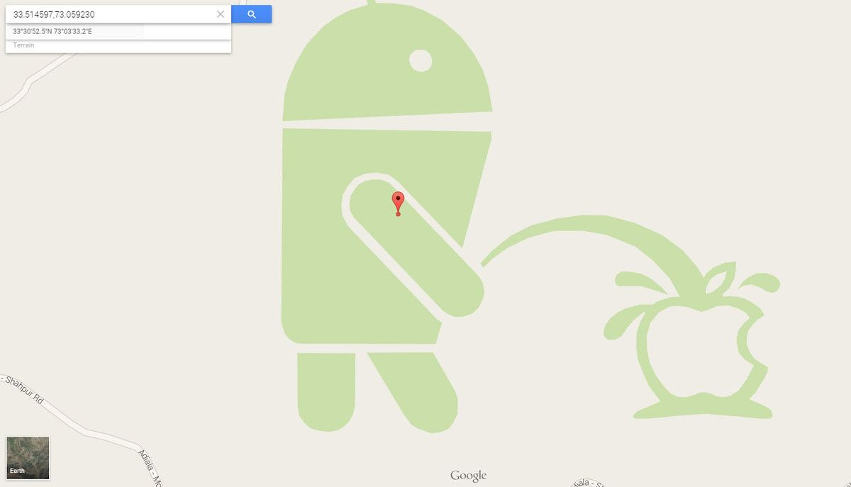 Google Maps Catches Android Mascot Red Handed Urinating On Apple