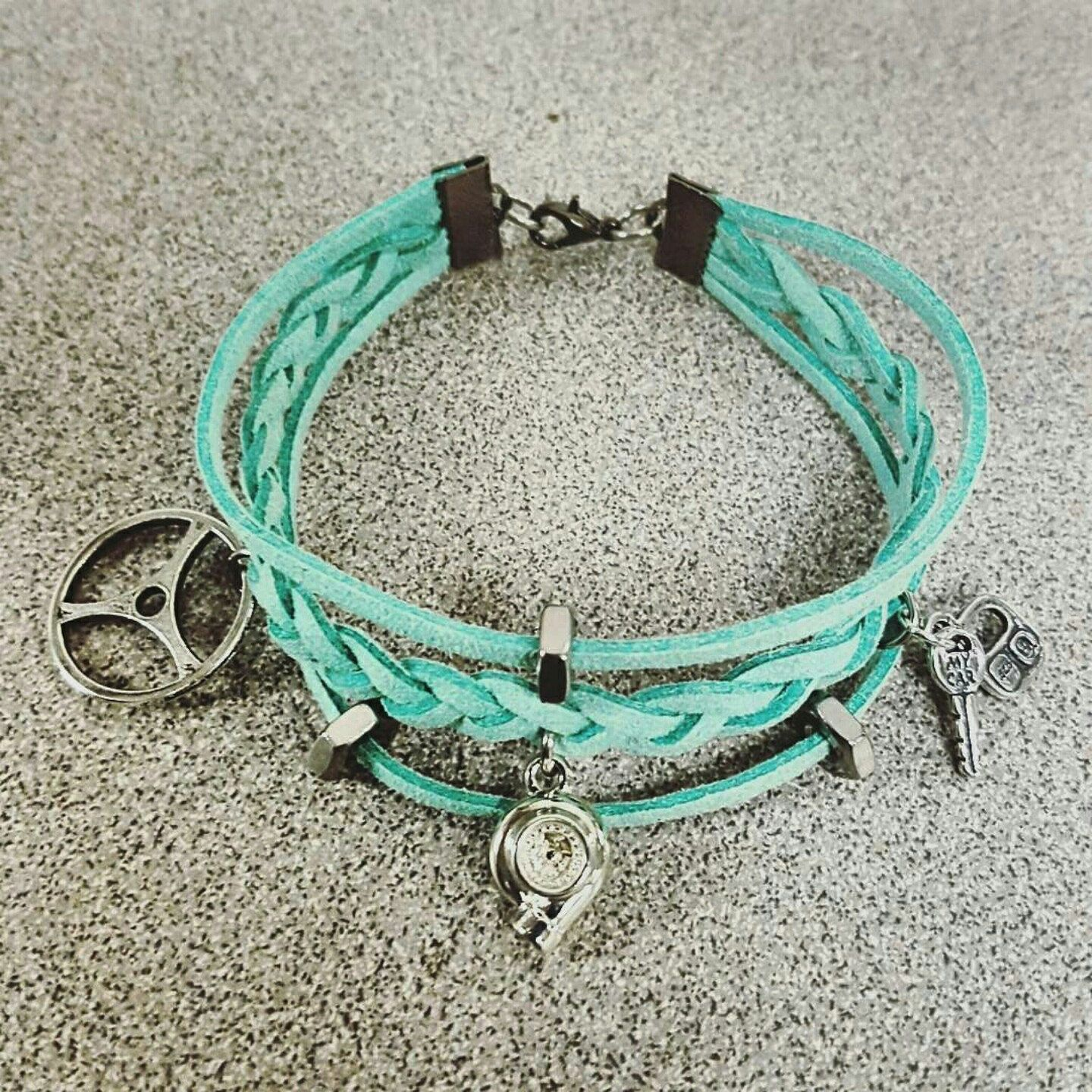 Turquoise Tiffany Leather Charm Bracelet Choose your charms