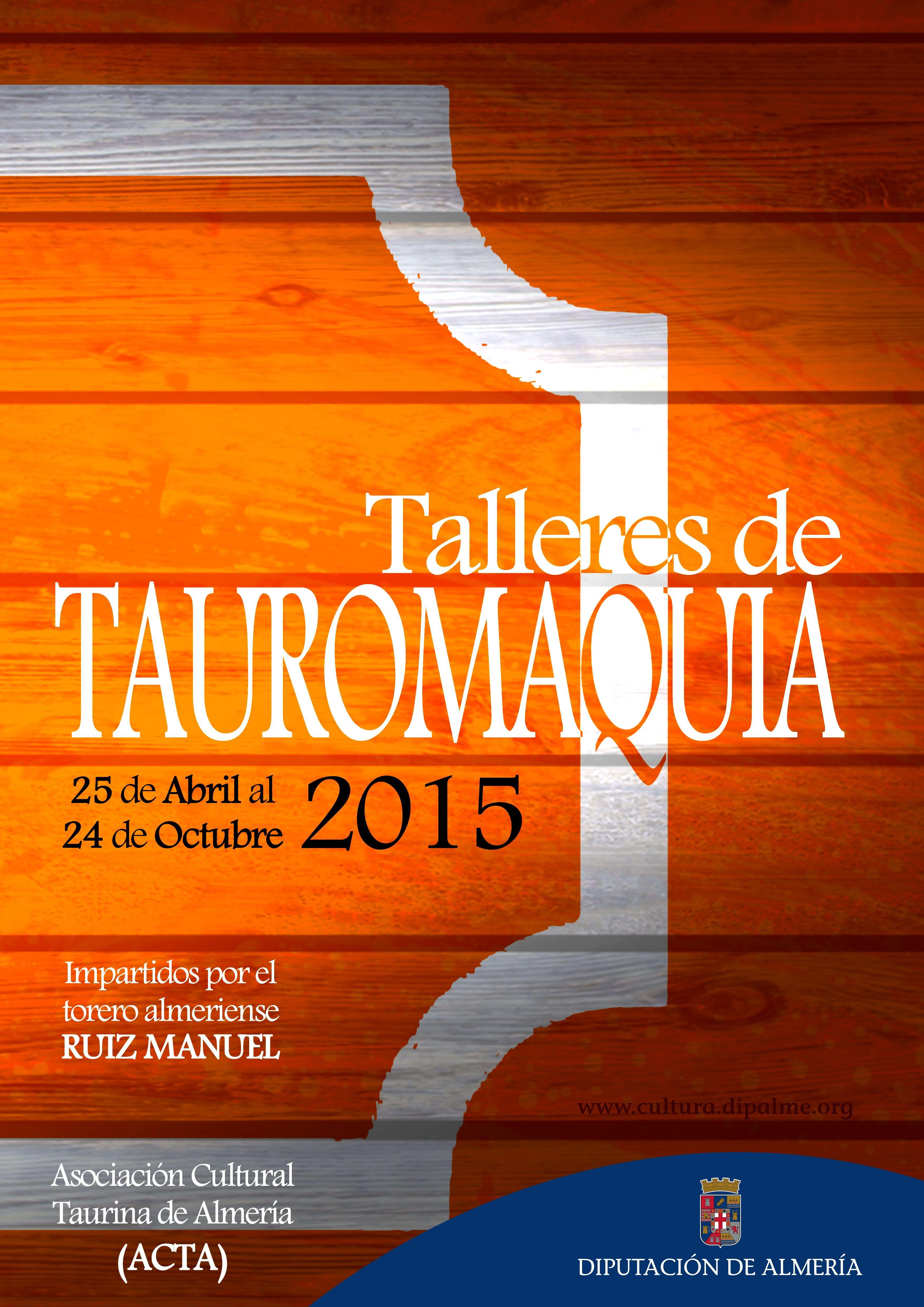 Propuesta seleccionada final de diseño de cartel de Talleres de Tauromaquia 2015 para Diputación de Almería. Final selected poster design of cultural event for Almería County Council.