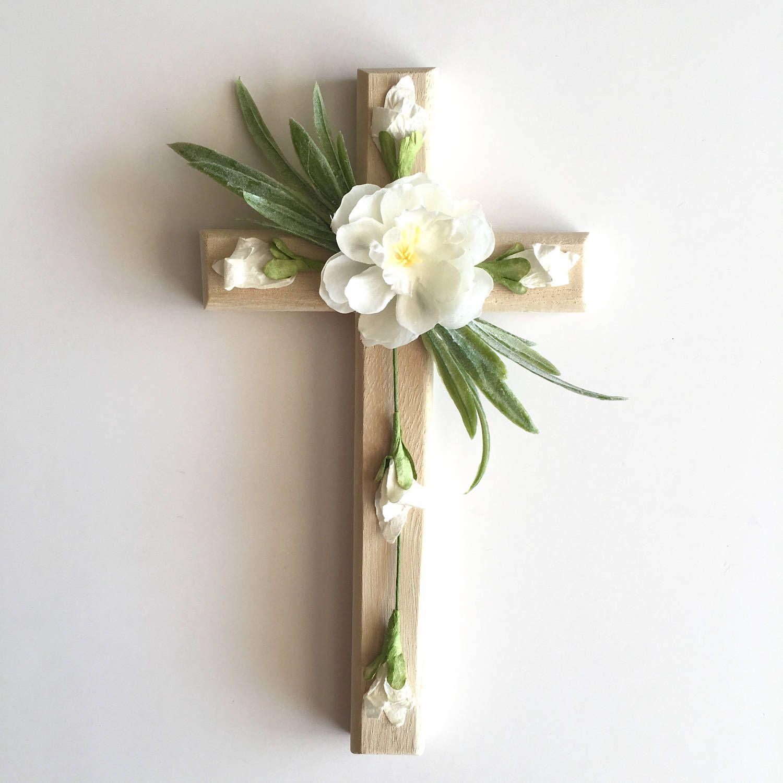 Wall Cross Wood Cross Floral Cross Flowers Christian Cross Easter