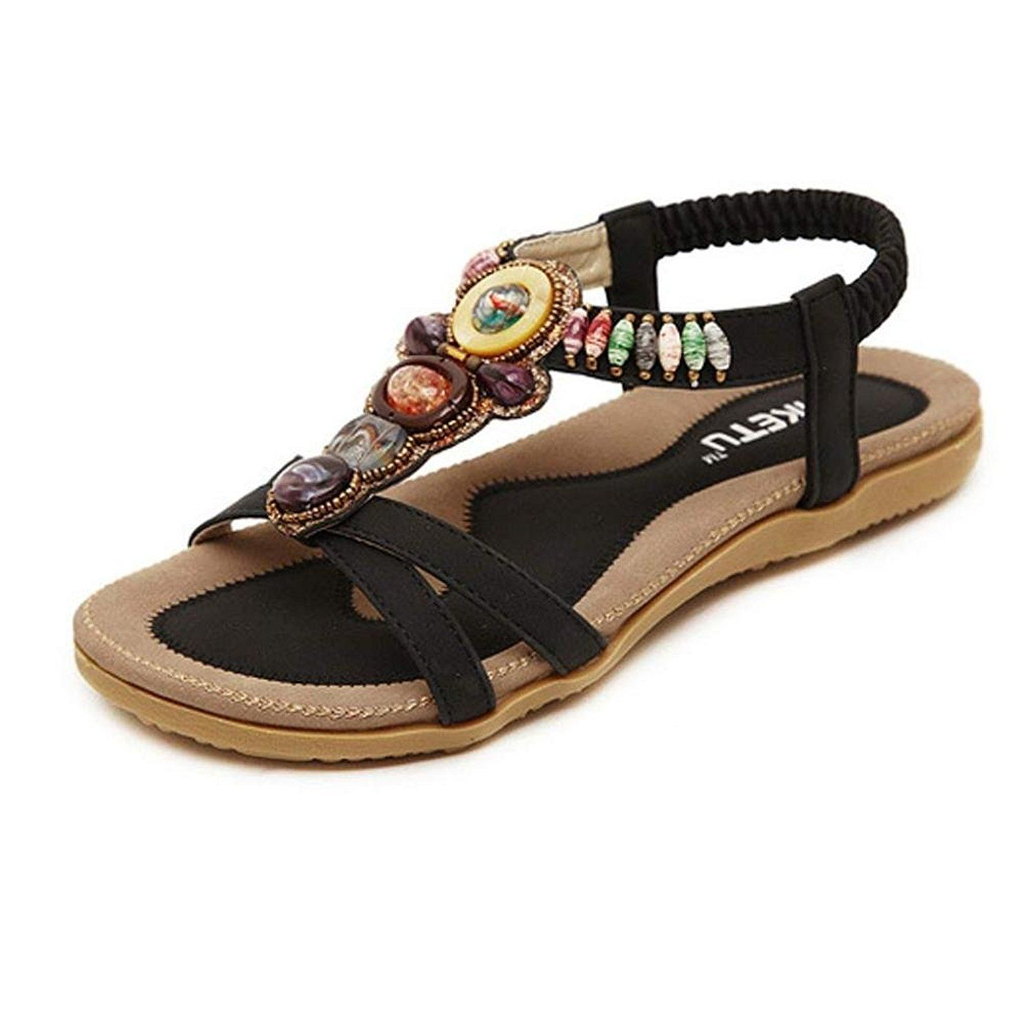 68f2f7250adb5 ... Strap Sandal. Inkach® Women Summer Sandals Women s Fashion Sweet Beaded  Clip Toe Flats Bohemian Herringbone Sandals    Details can be found by  clicking ...