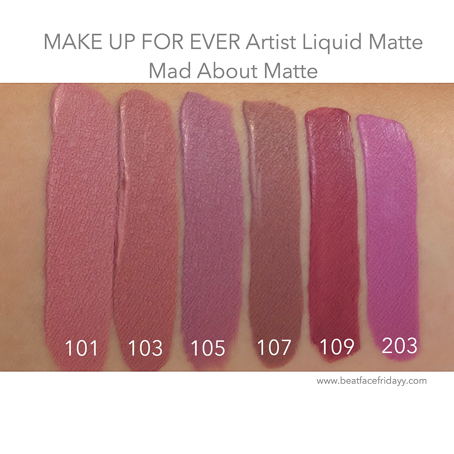 Make Up Forever, Liquid Lipstick. Swatches I have 105