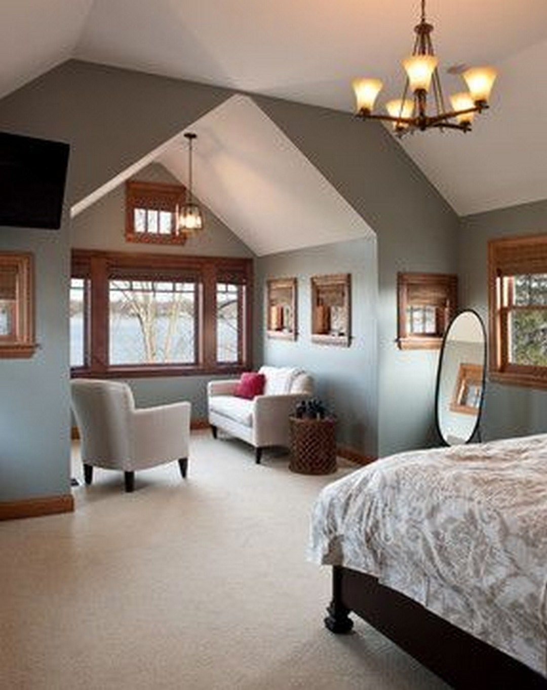 Awesome Attic Master Bedroom With Wood Furniture (42 ...