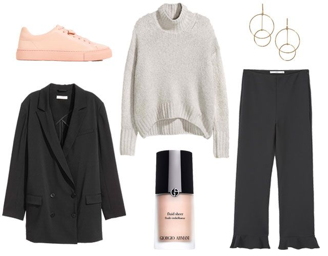a092b1cb Sneakers - Zara, Jacket - H&M, Turtleneck - H&M, Shimmer - Armani, Earrings  - H&M, Trousers - Mango
