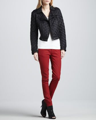 35227653ba4d29 Cropped Quilted Moto Jacket & Moto-Panel Skinny Jeans by Burberry Brit at Neiman  Marcus.