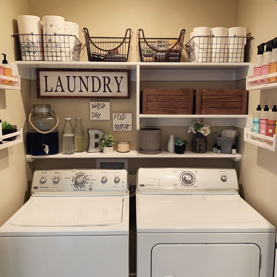 """������'s Instagram post: """"It's live!!! {swipe for the before} My small space laundry room/closet makeover video is up on my channel!! I know so many of you have been…"""""""