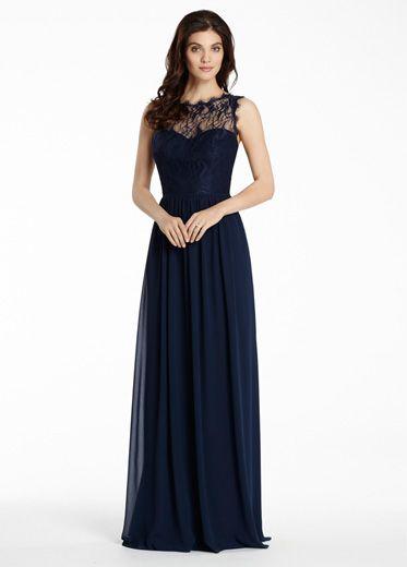 1229cf146d Indigo chiffon A-line bridesmaid gown