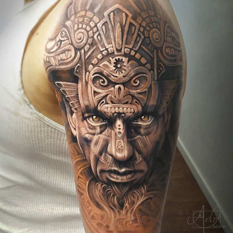 Aztec warrior portrait animal carvings best tattoo