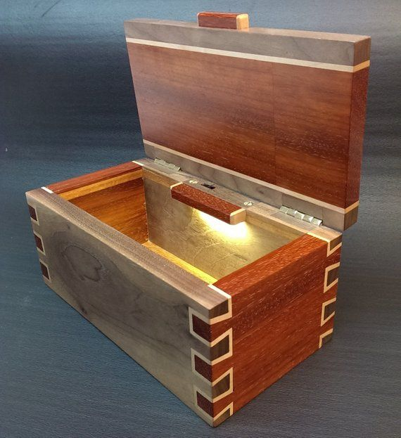 Solid Padauk Walnut Box Handcrafted Double Dovetail Joints