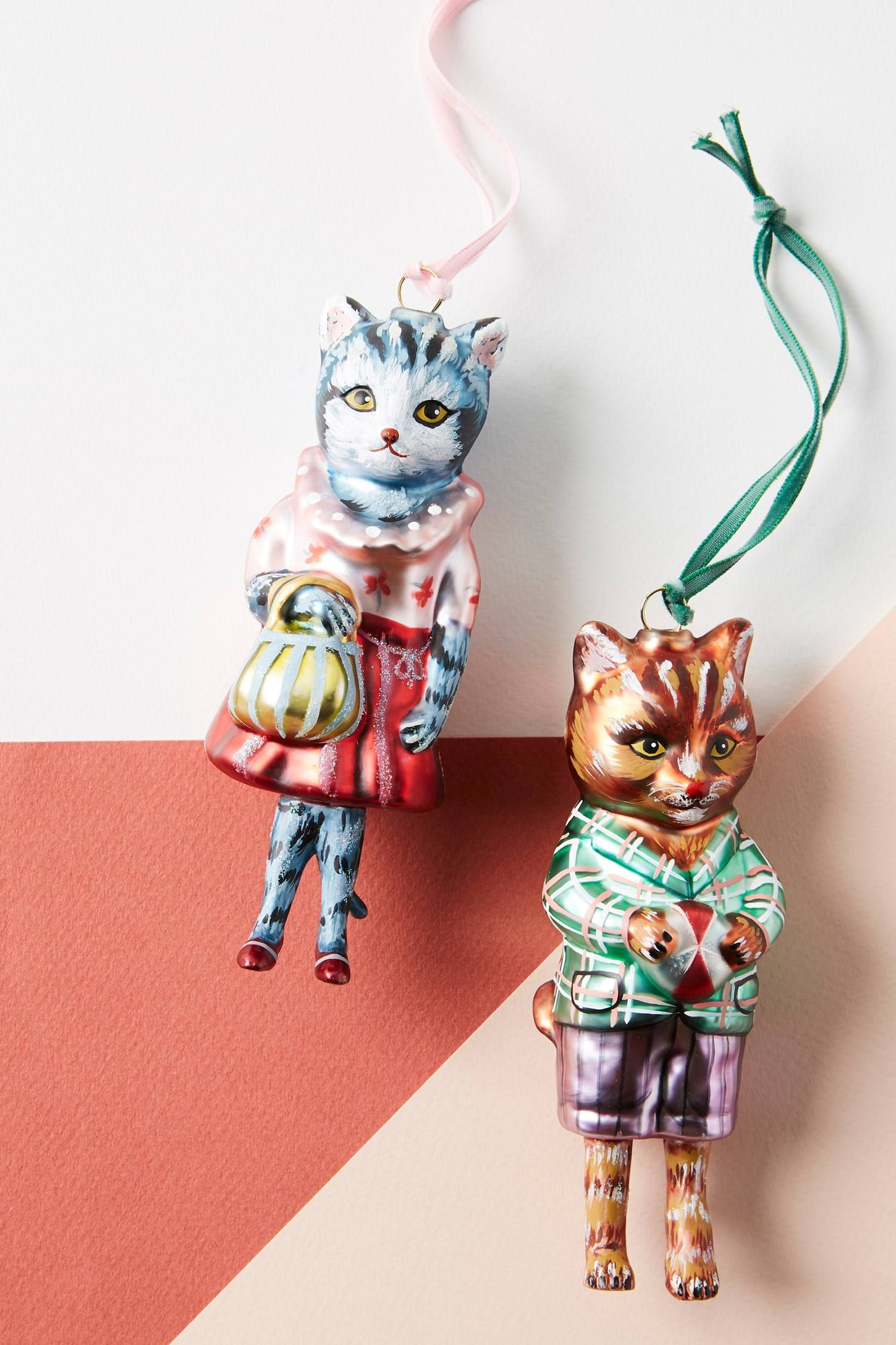 WellDressed Glass Cat Ornament Christmas ornaments
