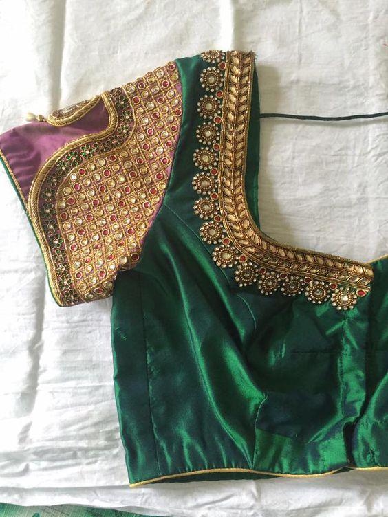 7e783dc9d2a2c4 29. Dark green blouse with short sleeve vanki design maggam work ...
