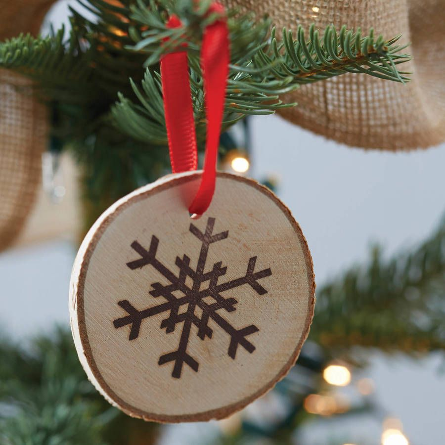 Christmas wooden snowflake hanging tree decorations tree