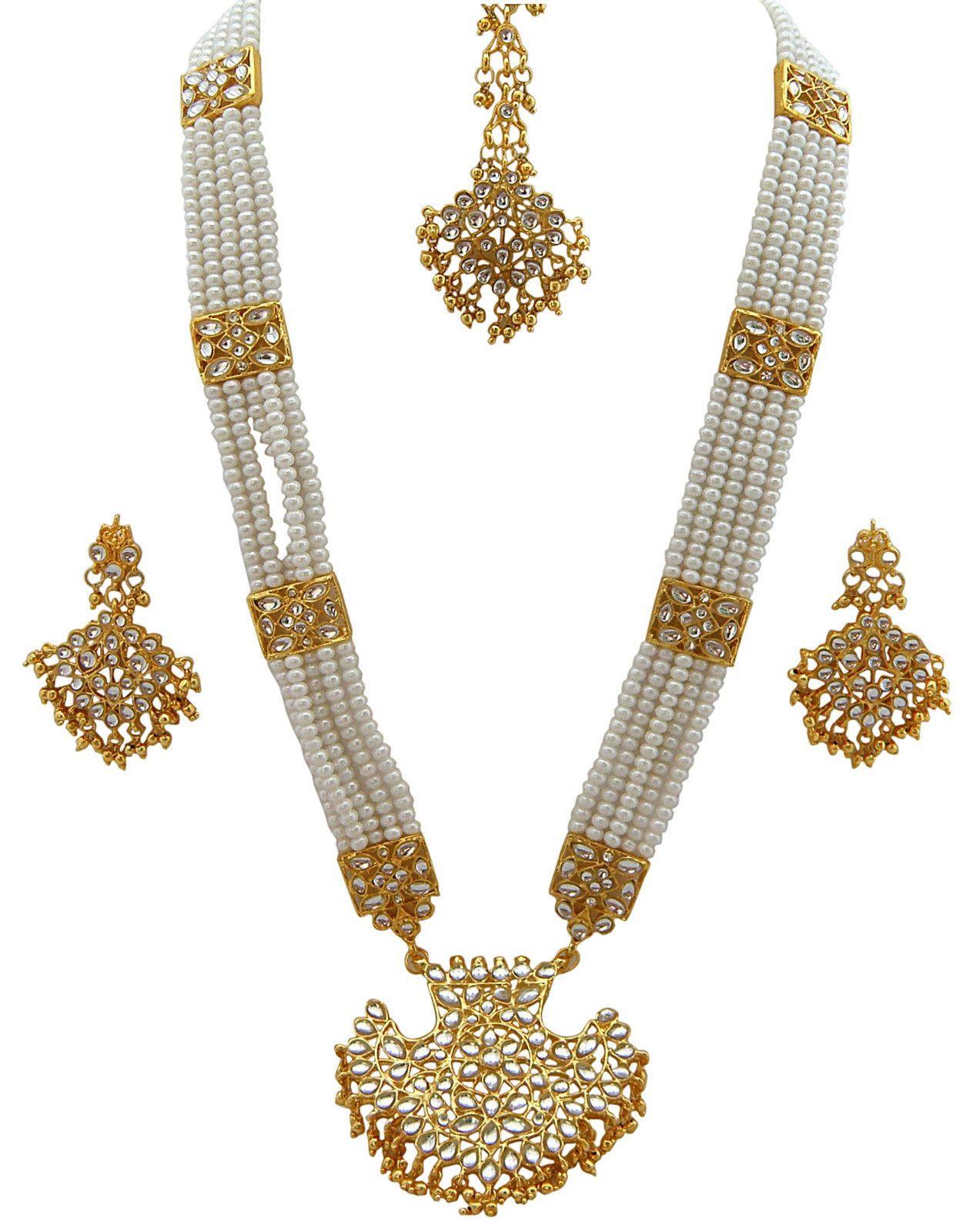 Jwellmart indian gold polish faux pearl kundan stone rani haar