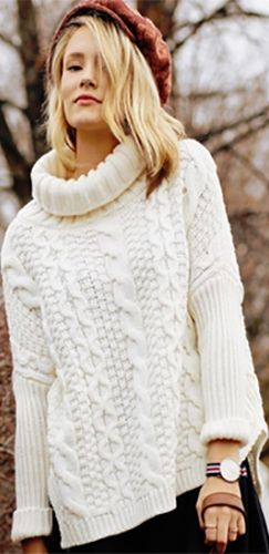 White Long Sleeve Turtleneck Chunky Cable Knit Pullover Sweater ...