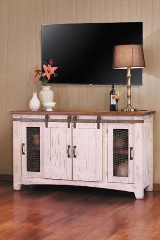 Pueblo 60 Barn Door Tv Stand White Tv Stands Rustic Tv Stand Home Decor