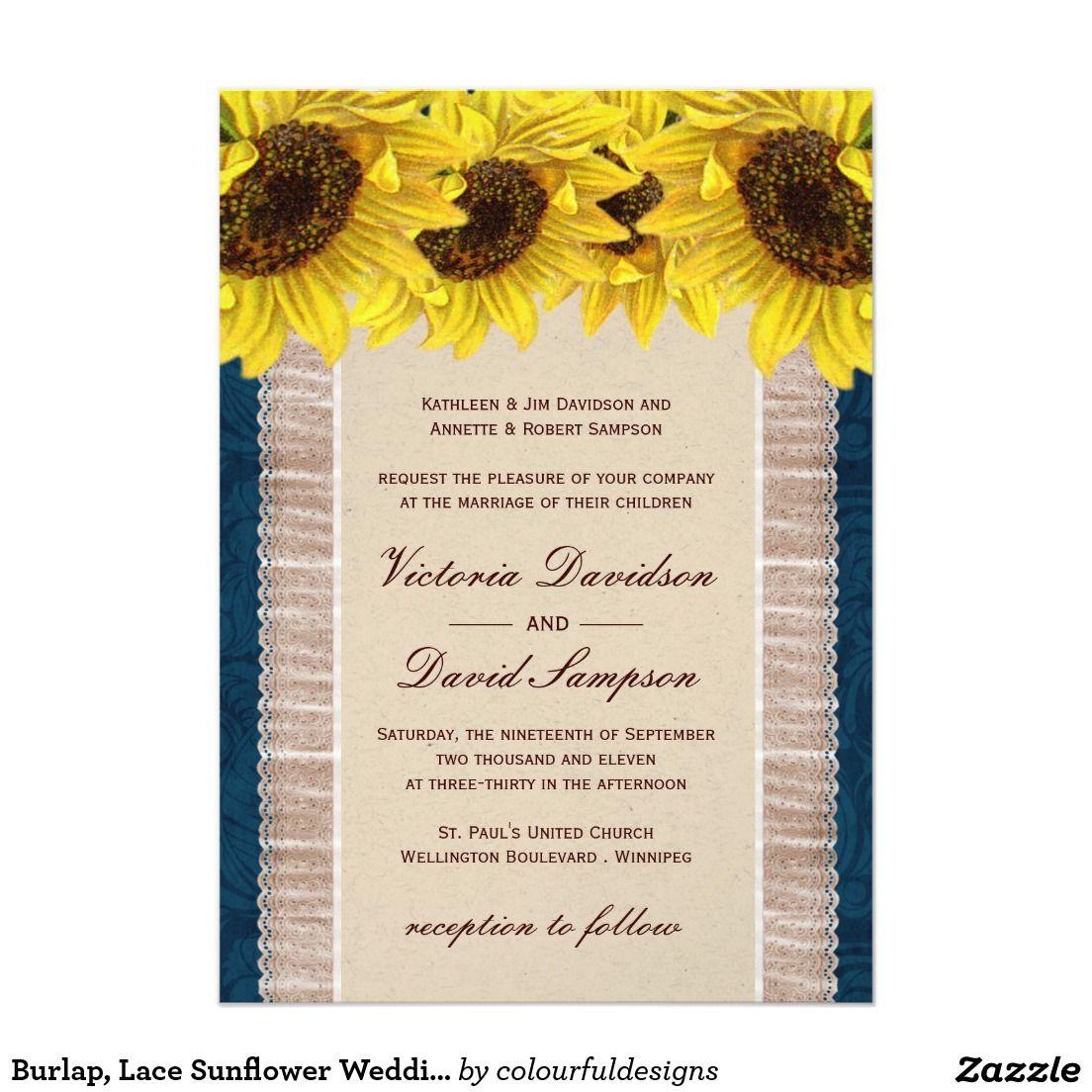 Burlap, Lace Sunflower Wedding Invitation | Sunflower wedding ...