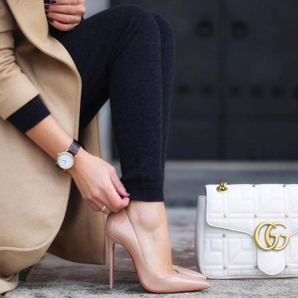 08800a6558cd leggings tumblr black leggings knitwear pumps louboutin pointed toe pumps high  heel pumps nude heels bag white bag gucci gucci bag watch coat camel camel  ...