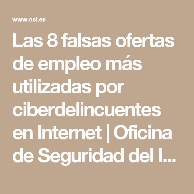 12e0562beb9 Las 8 falsas ofertas de empleo más utilizadas por ciberdelincuentes en  Internet
