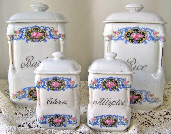 8909eec59ae9 Vintage Porcelain Canister Set Czechoslovakia by cynthiasattic ...