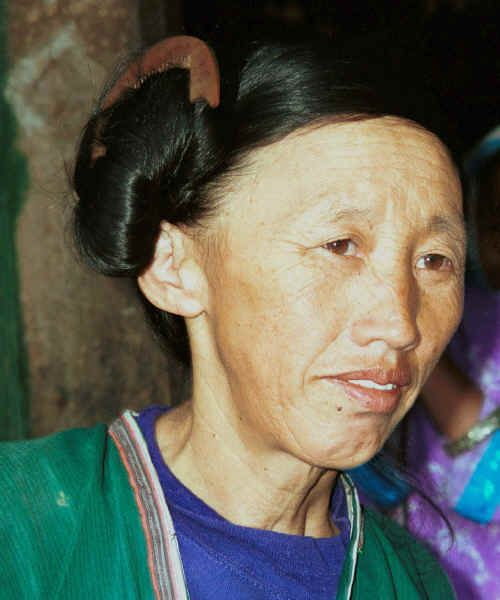 Side comb Miao woman showing the traditional hair fashion on which the Han Chinese base the name of this group of Miao - Long Dong village, De Wo township, Longlin country, Guangxi province 0010e16.jpg