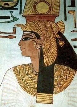 Ancient Egyptian wall painting - portrait of Nefertari - ancient beauty MO