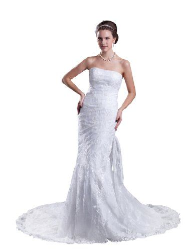 Topwedding Strapless Lace Trumpet Wedding Dress with Beads and Pearl White 22W >>> Check out this great product.