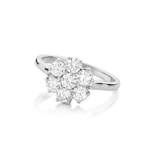 Diamond Daisy Cluster Ring 18ct White Gold handmade Diamond ring