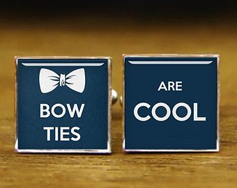 bowties are cool cufflinks, dr who cufflinks, custom round or square cufflinks & tie clips, groom wedding cufflinks, Superheroe jewelry gift -$12.88