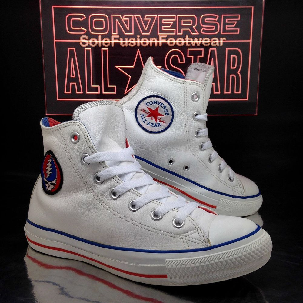 8a28d9ef75a0 Converse Mens All Star Leather Trainers White sz 6 Grateful Dead Womens US 8  39