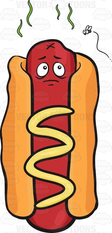 Hot Dog On A Bun With A Face And The Hot Dog Is Stinky With