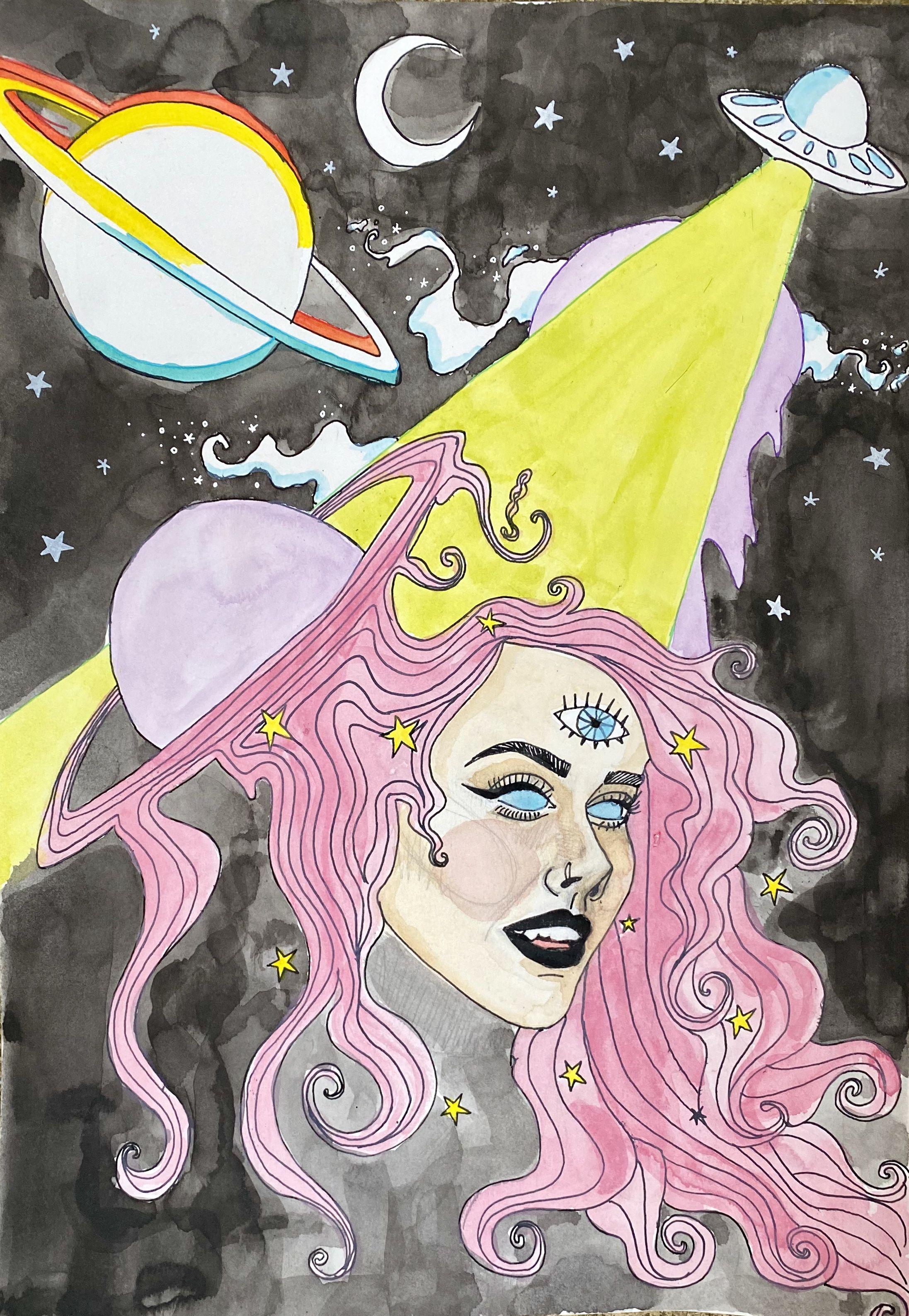 Trippy self-portrait in 2020 | Planet painting, Portrait
