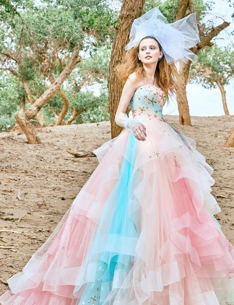 Multi Colored Wedding Dress If You Can T Decide What Color To Choose For Your Wedding Dres Pastel Wedding Dresses Colored Wedding Dresses Wedding Dress Guide