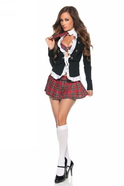 New Fantasy Adult Naughty School Girl Costume Sexy  Piece Student Uniform Set Women Schoolgirl Halloween Costumes S X